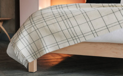 modern check throw in ivory and slate