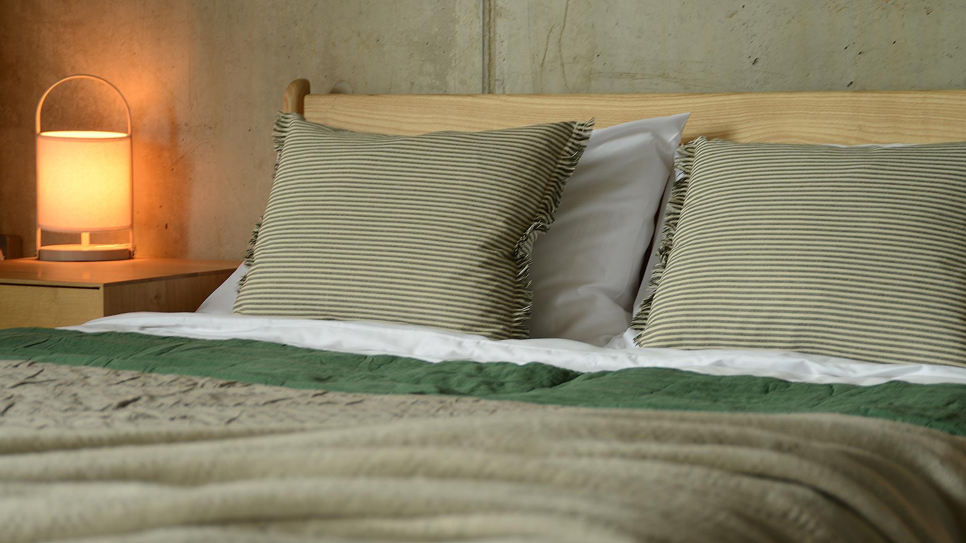 Deep Green Stripe Cushions Modern Bedding Natural Bed Company
