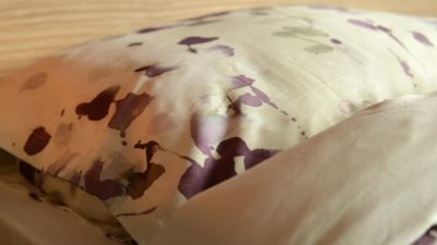 printed sateen cotton bedding - cream and mauve
