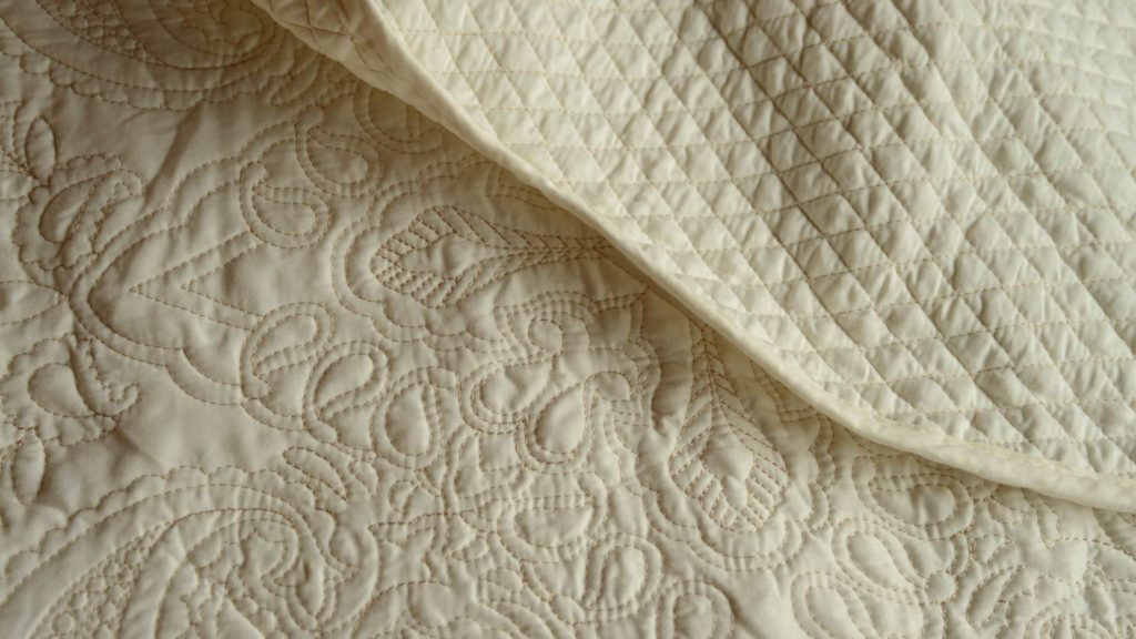 cream embroidered bedspread