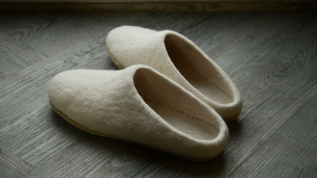 cream coloured felted wool slippers