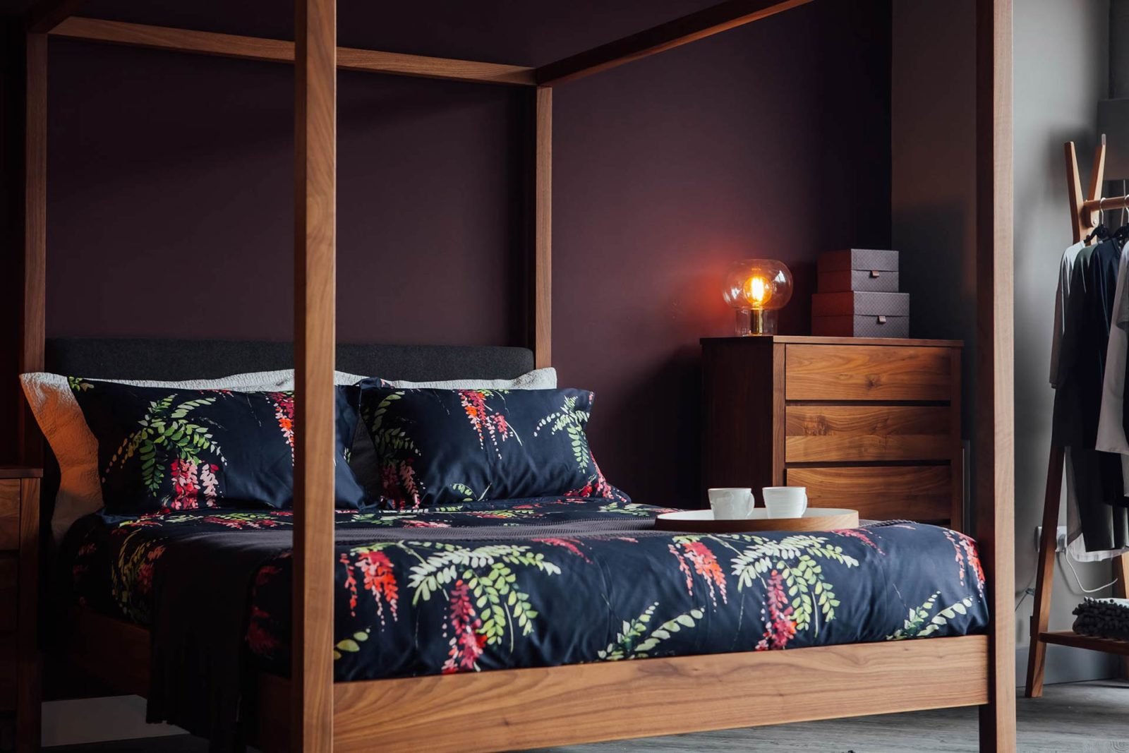 A closer view of the Highland classic 4 poster bed with padded wool covered headboard