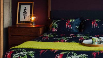crimson-blossom-print-duvet-set-with waffle throw