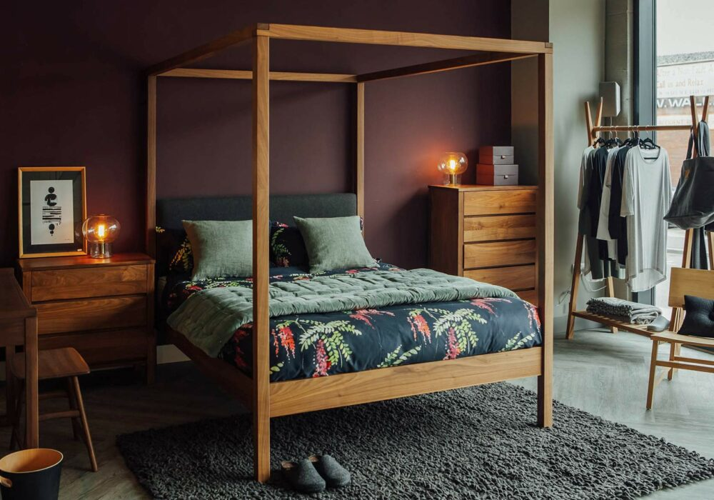 Walnut bedroom furniture, the Highland solid wood 4 poster bed and Shaker chests of drawers