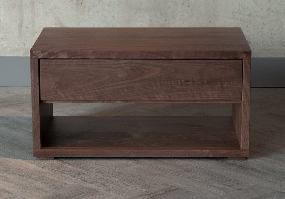 Cube low Bedside Table with 1 drawer and an open shelf - in Walnut or Oak