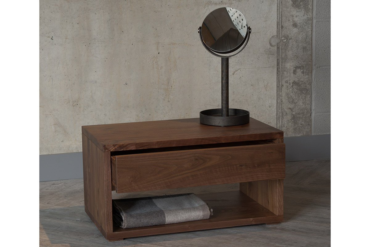 Cube low wide bedside table with a drawer, in walnut wood
