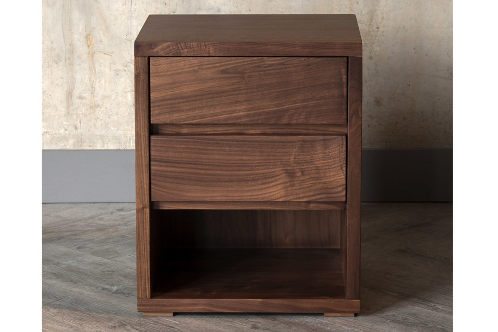 Cube 2-Drawer Walnut Bedside Chest exclusive to Natural Bed Company
