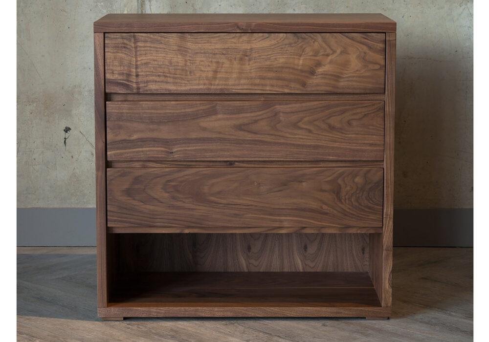 3 Drawers bedroom storage chest in Walnut by Black Lotus