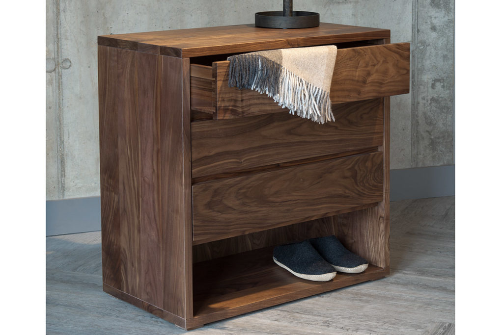 Walnut three drawer Cube chest of drawers by Black Lotus for Natural Bed Company
