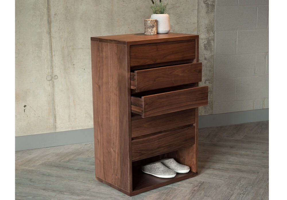 Cube collection 5 drawer tall chest in Walnut wood, also comes in Oak