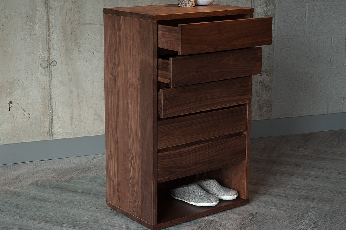walnut 5 drawer tall boy from Natural Bed Company