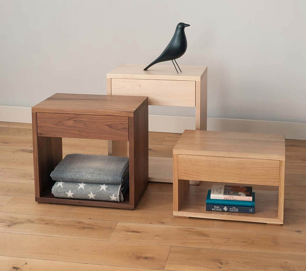 Made in UK our Cube bedside tables come in 3 height options and in a range of wood choices to match your bed.