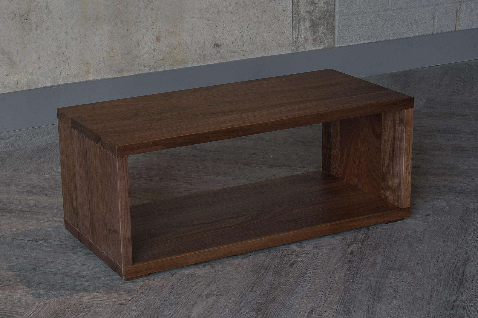 Wooden open shelf table or bench from the Cube collection and in Walnut