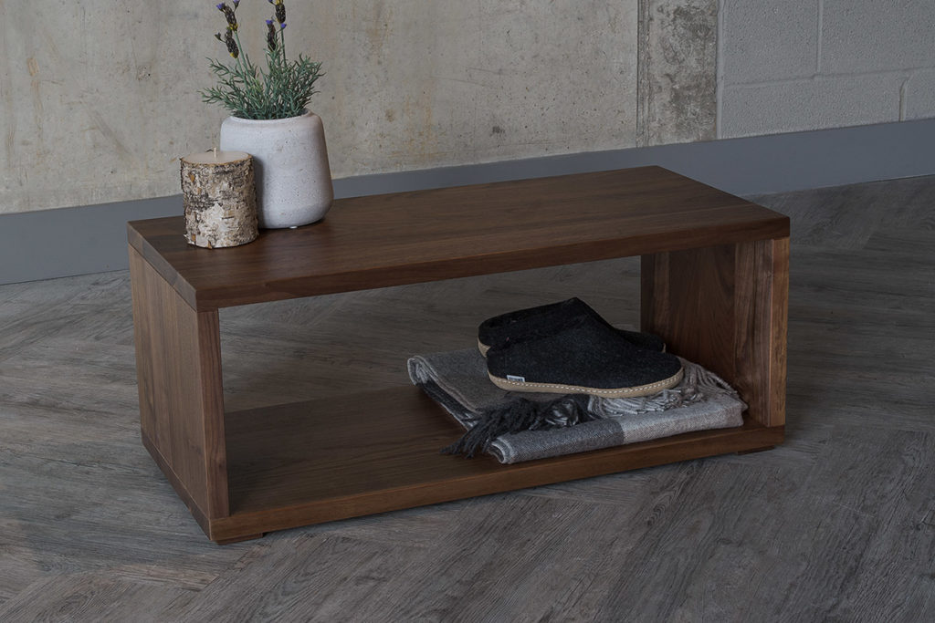 Black Lotus Cube collection Shelf table or bench in walnut