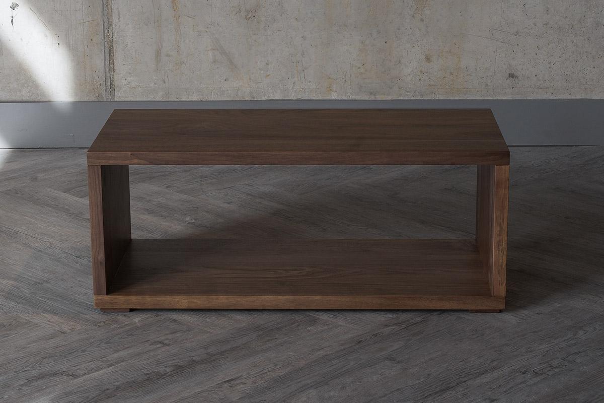 Useful open shelf table or bench in Walnut wood by Black Lotus.