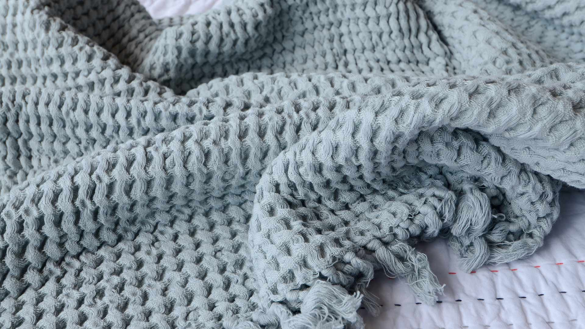 waffle cotton throw - silver blue