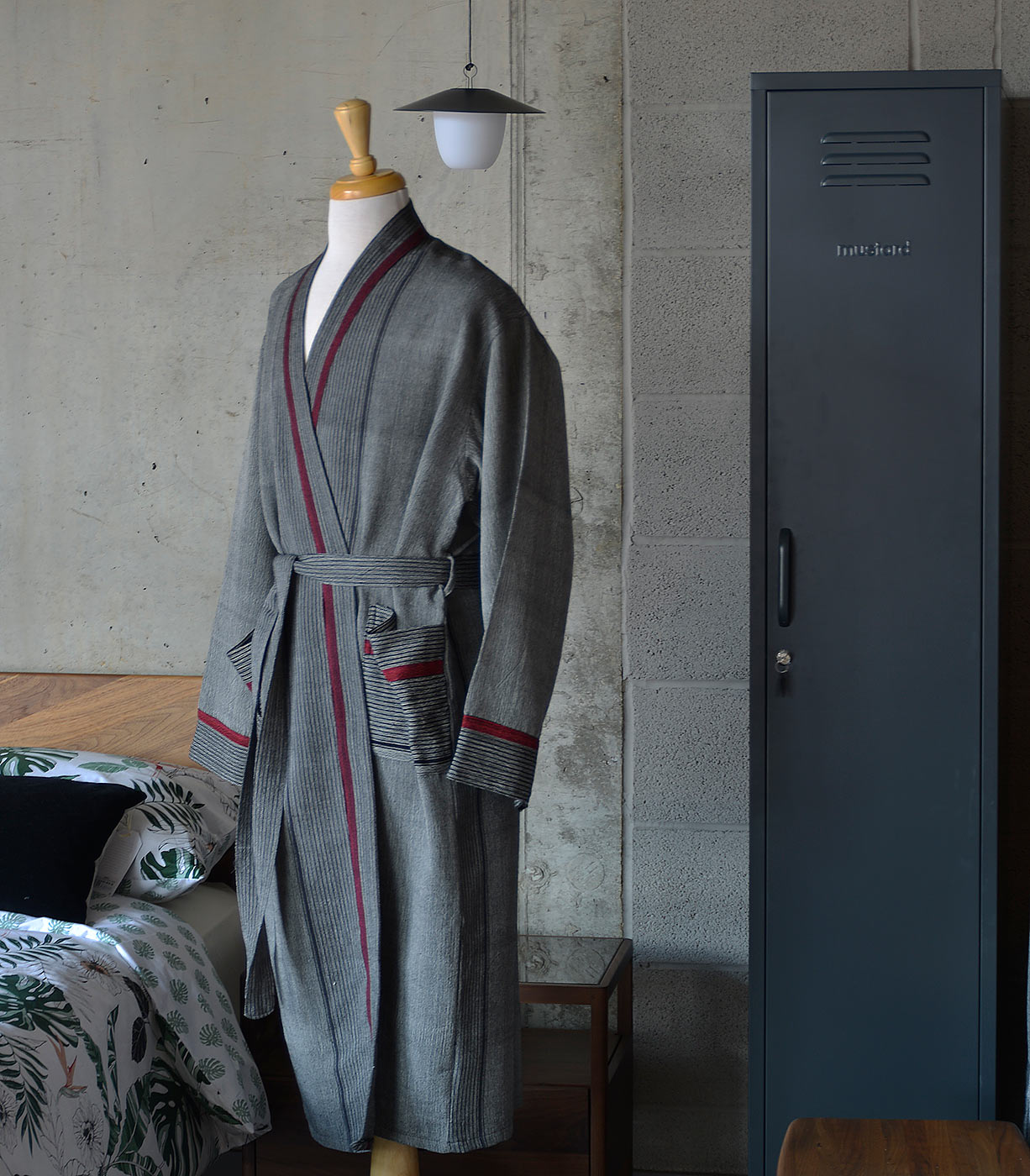 grey striped soft cotton dressing gown a side view