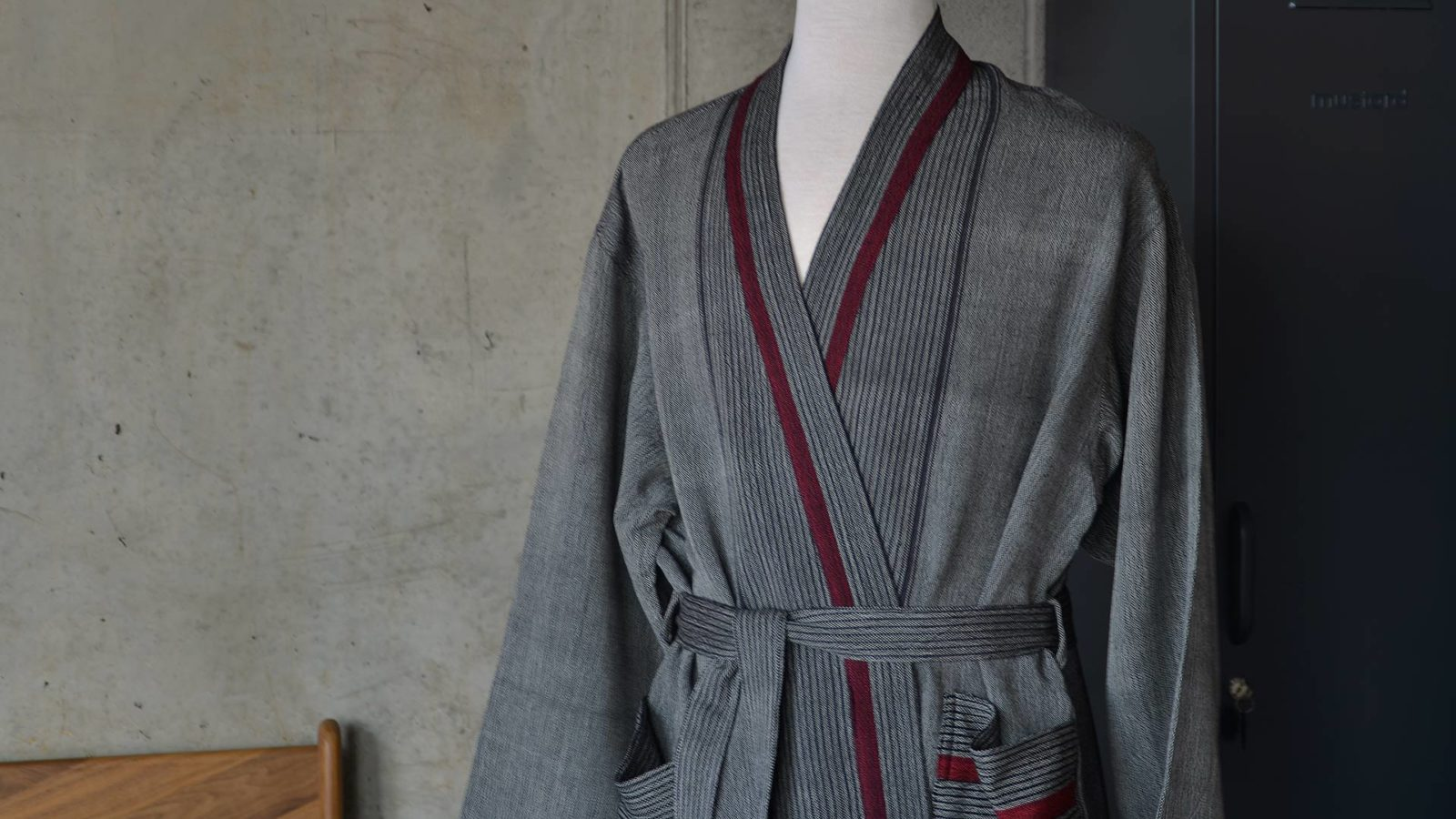 a closer view of the grey soft cotton robe