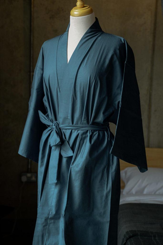 dark blue kimono robe