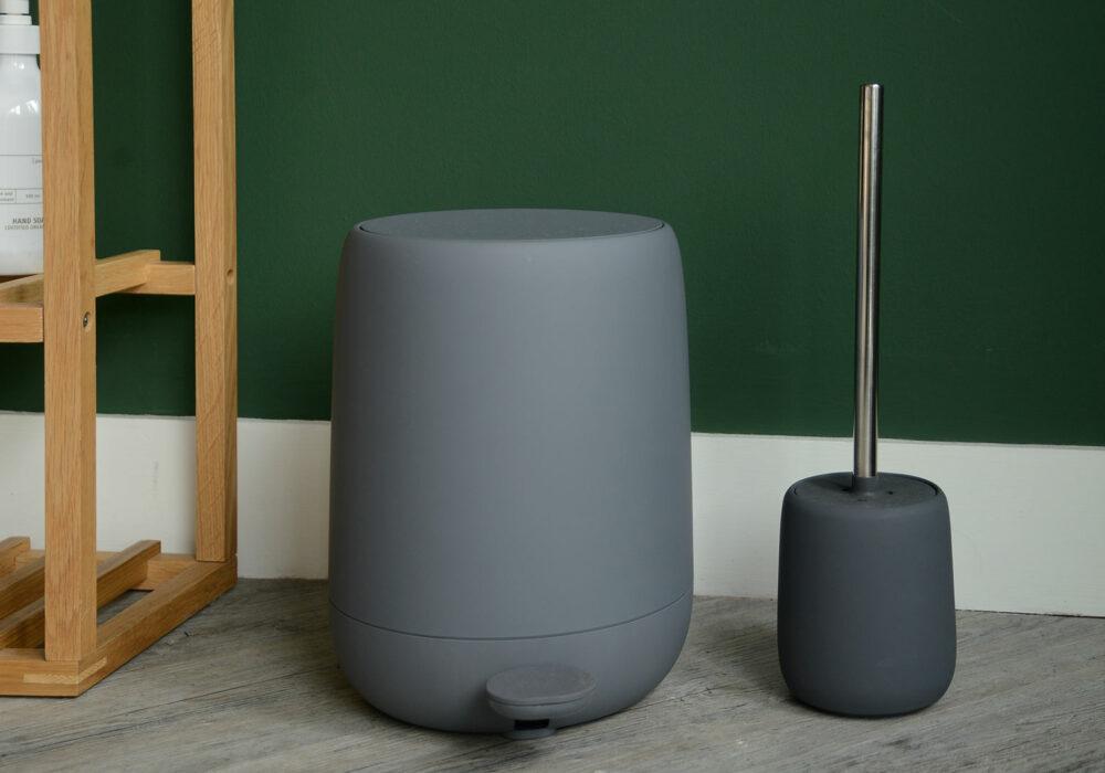 soft touch bathroom bin and toilet brush set in dark grey