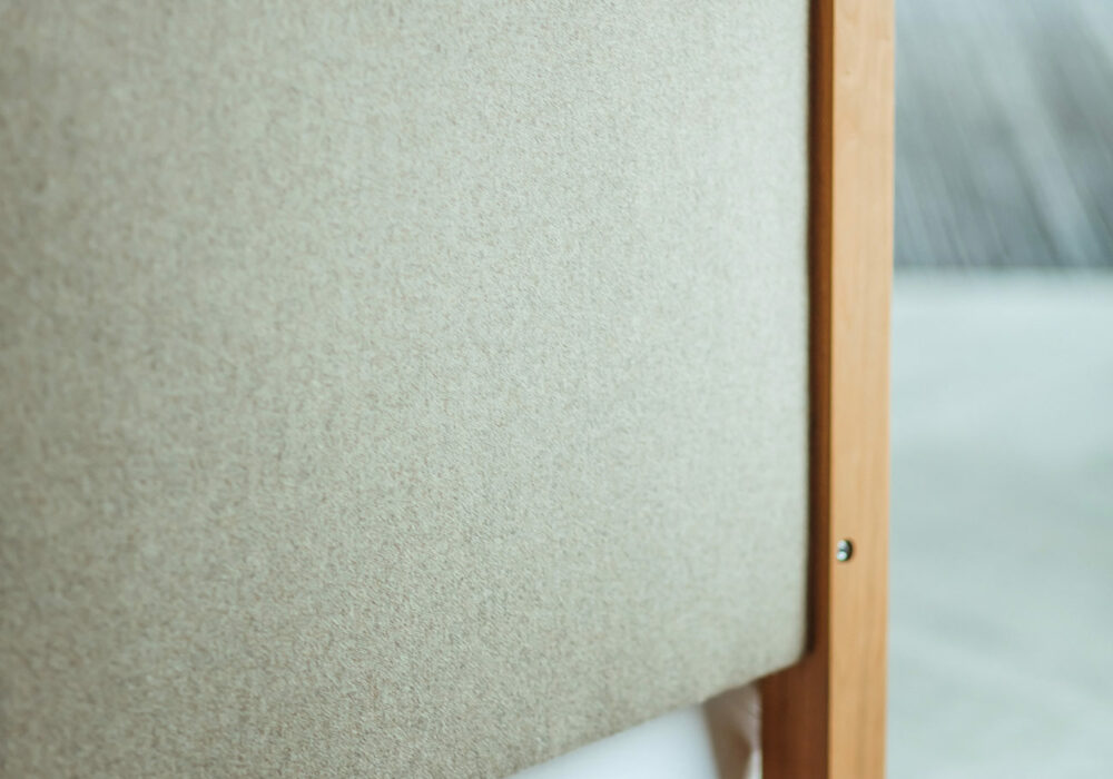 A photo to show the reverse of the Highland 4 poster bed upholstered headboard