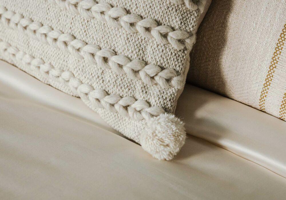 satin finish organically farmed cotton bedding - detail