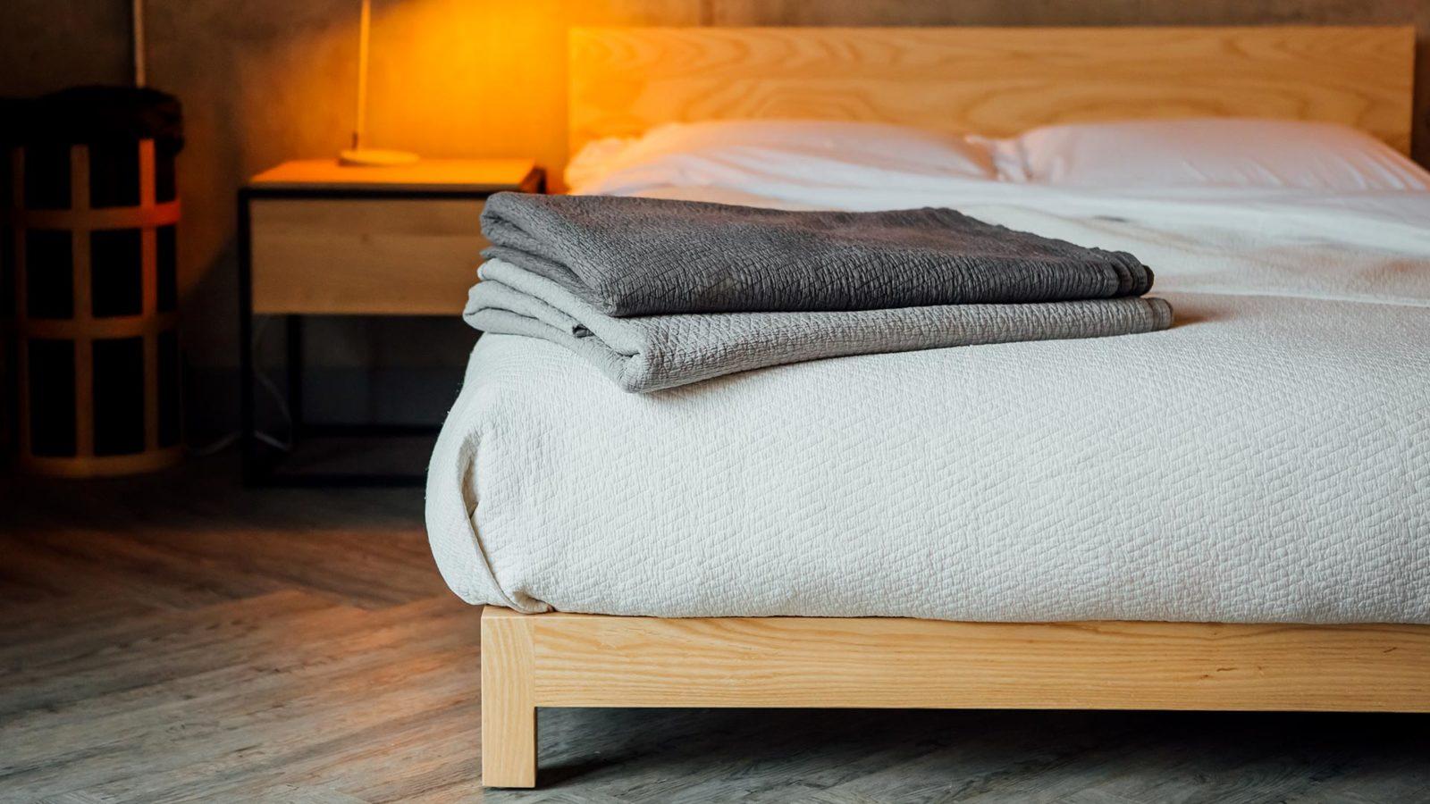 Textured bedspreads, dark grey, pale grey & ivory