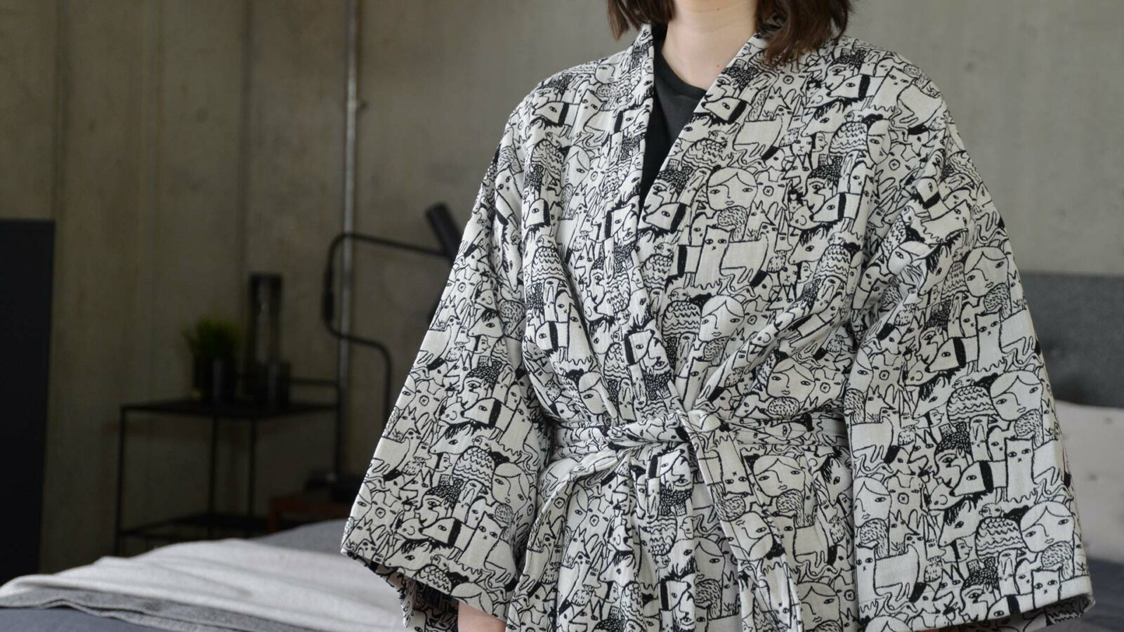 Donna Wilson black and white woven menagerie design short robe a closer view