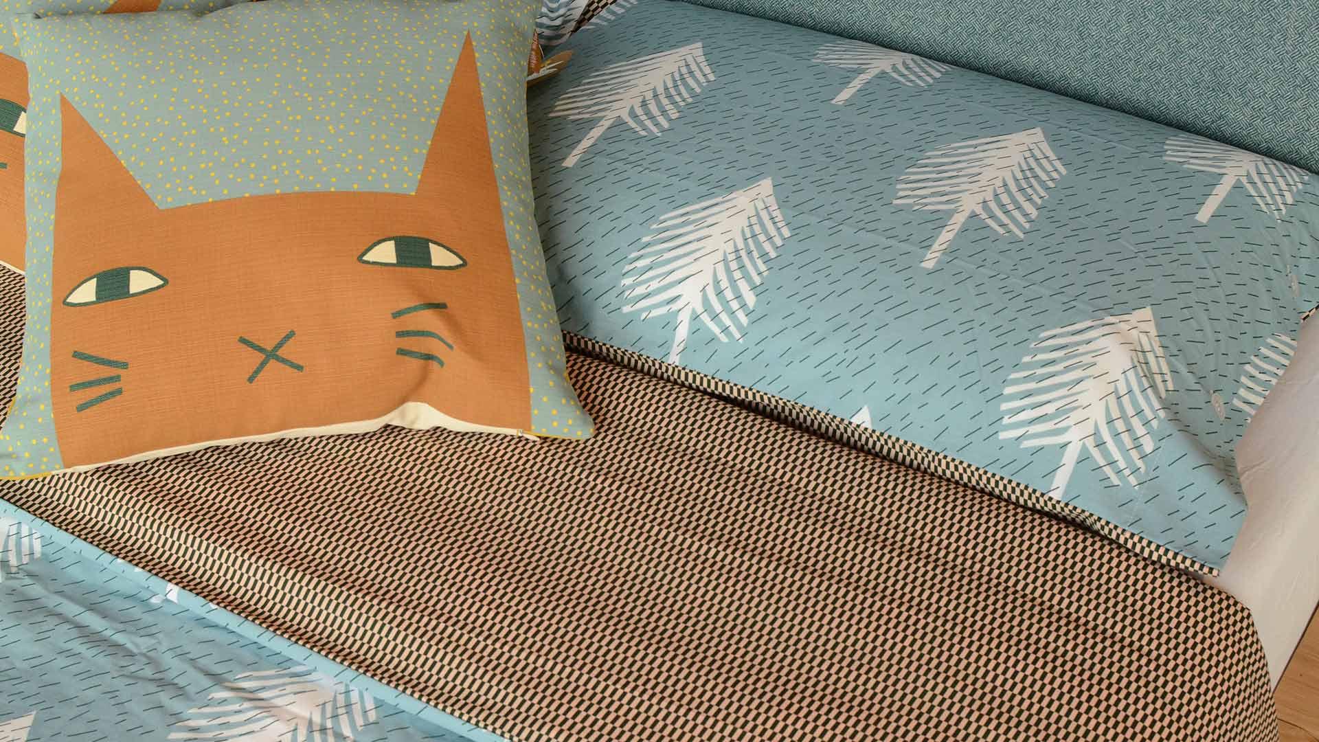donna-wilson-single-tree-bedding-&-cat ears cushion