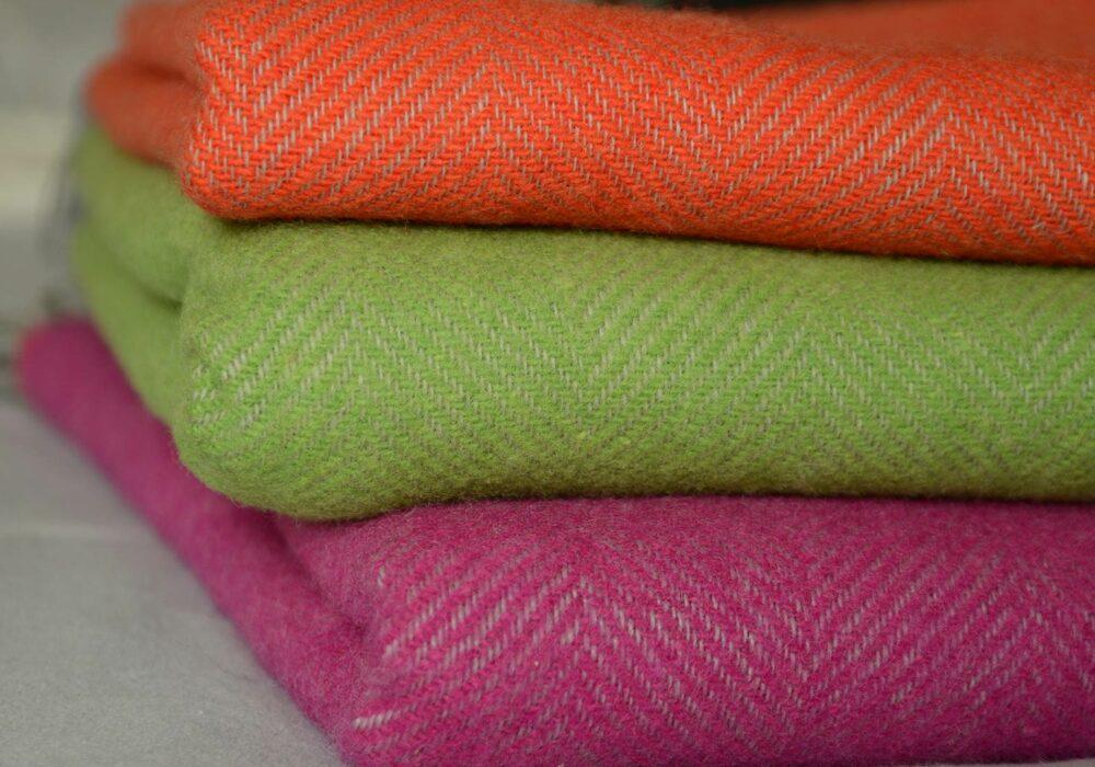 Bright Colour Herringbone Throws