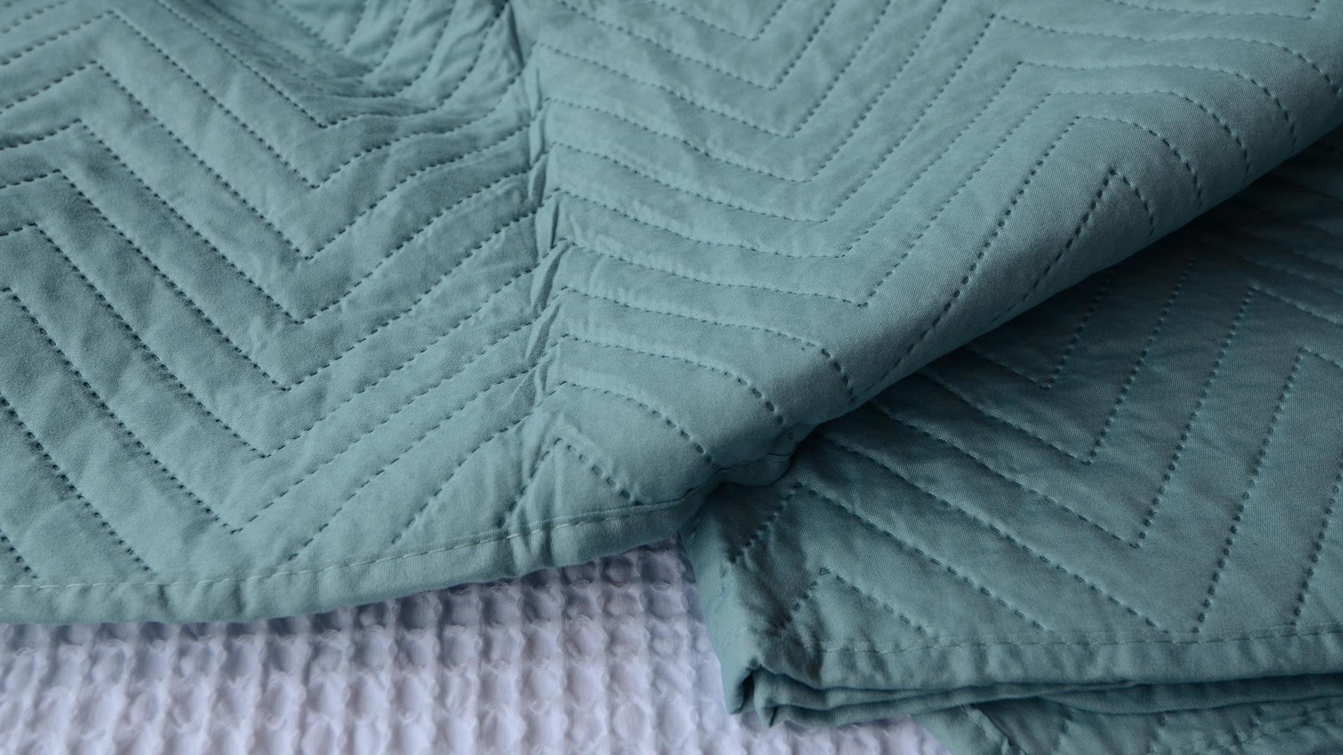 duck-egg blue bedspread chevron pattern