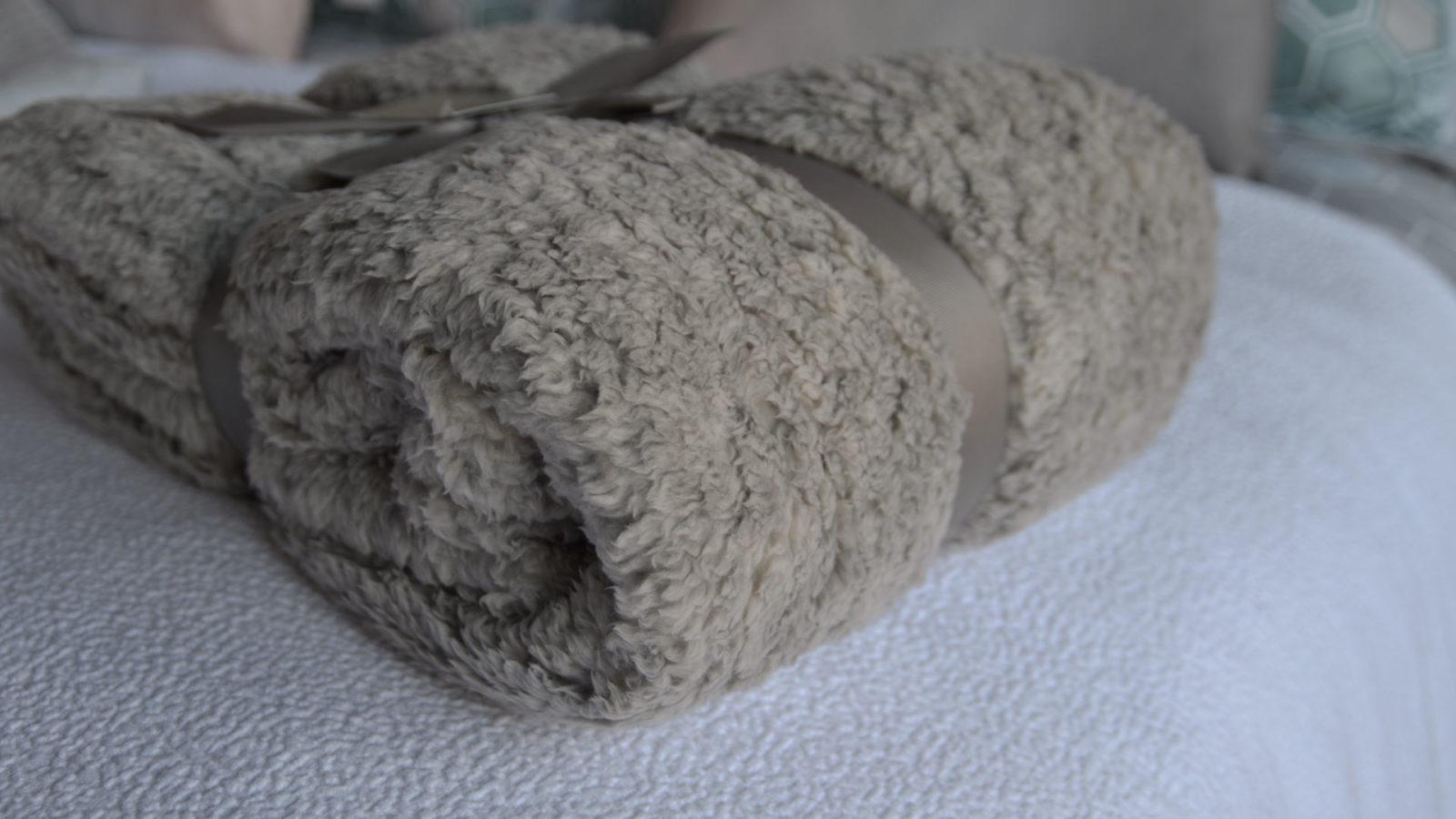 super soft ecru fleece throw