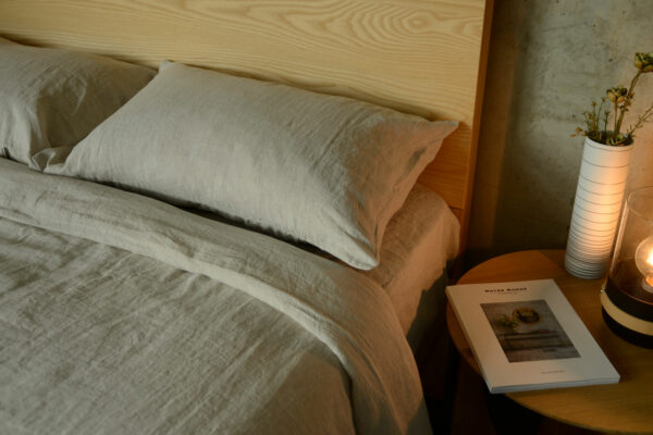 beige marl colour luxury 100% linen bedding, pillowcases, sheets and duvet covers