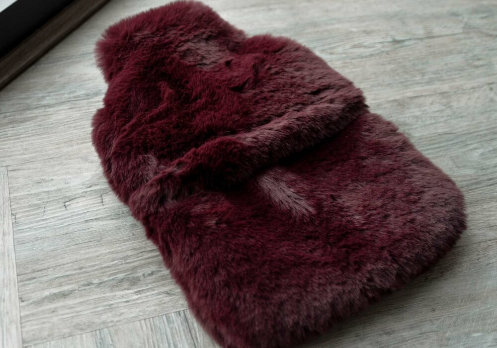 luxury softest faux fur hot water bottle in a wine red colour