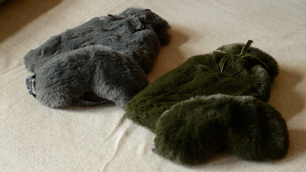 softest luxury faux fur hotwater bottle and eye mask sets in 2 colour choices