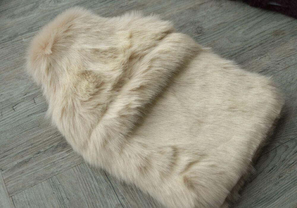 luxury softest faux fur hot water bottle in a pale beige colour