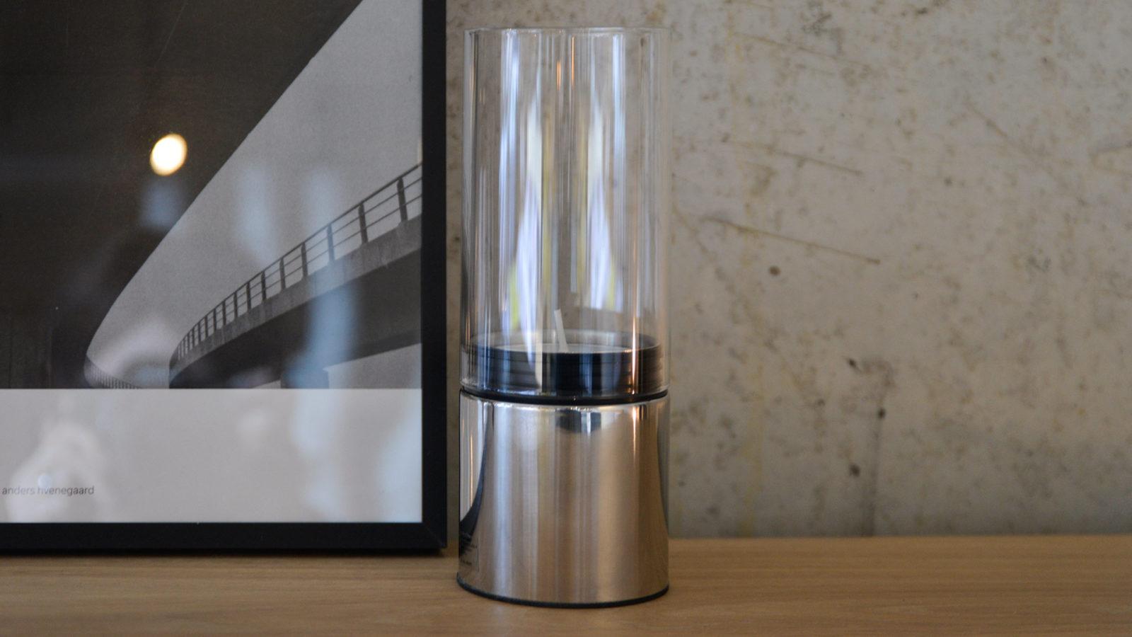 polished steel and glass lantern