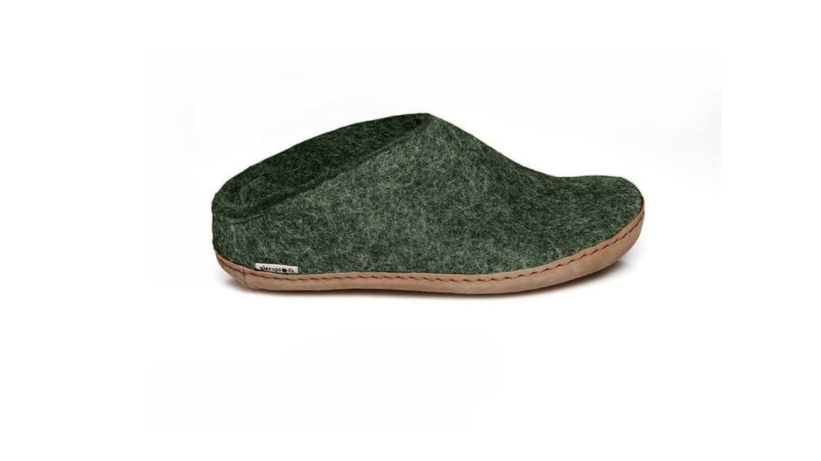 dark green felt slippers