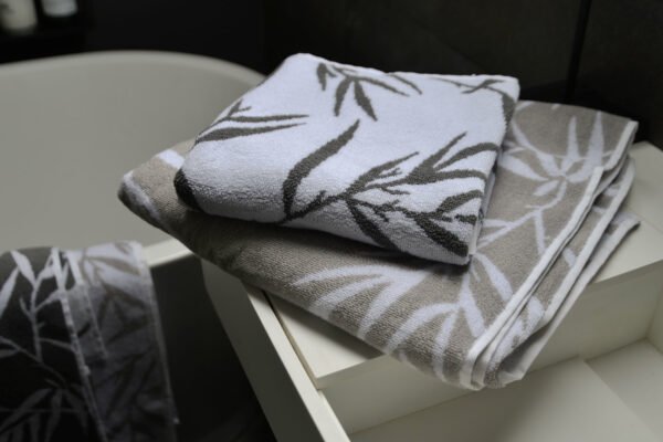 bamboo print towels in granite or warm silver grey
