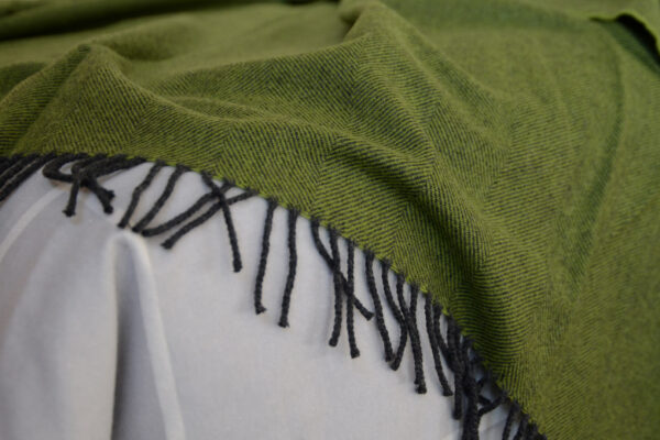 green and charcoal merino throw