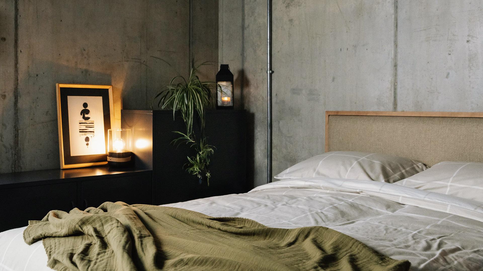 Strap Bedside Light in industrial look loft bedroom