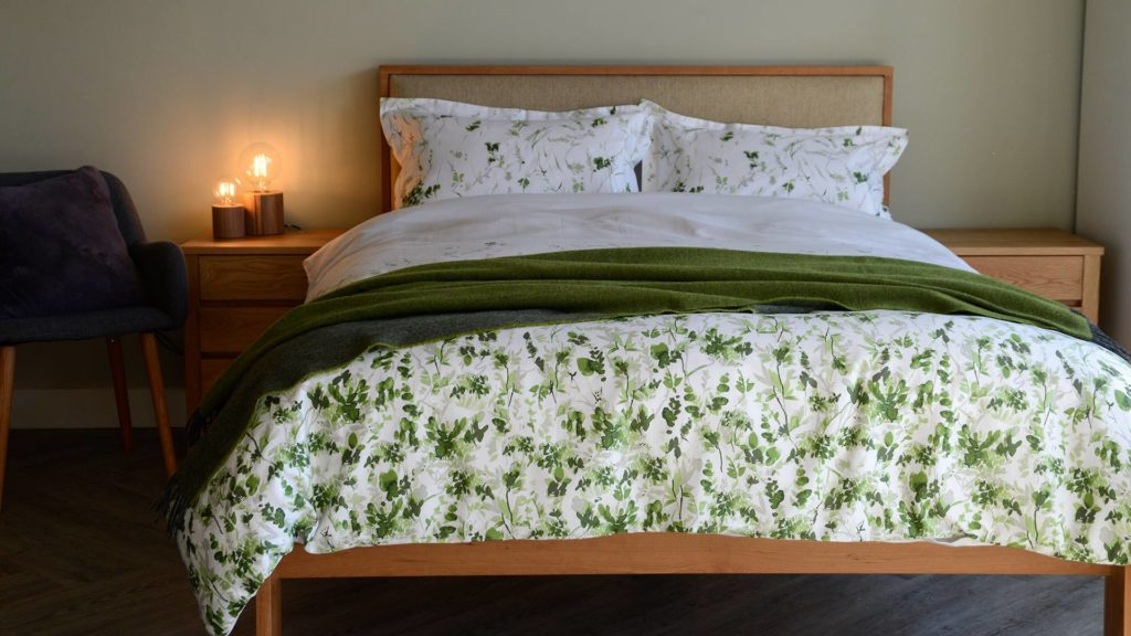 white and green leaf print cotton bedding