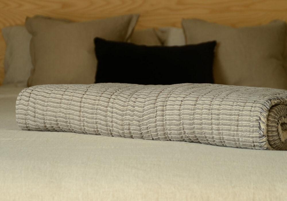 Grey Textured Cotton Bedspread