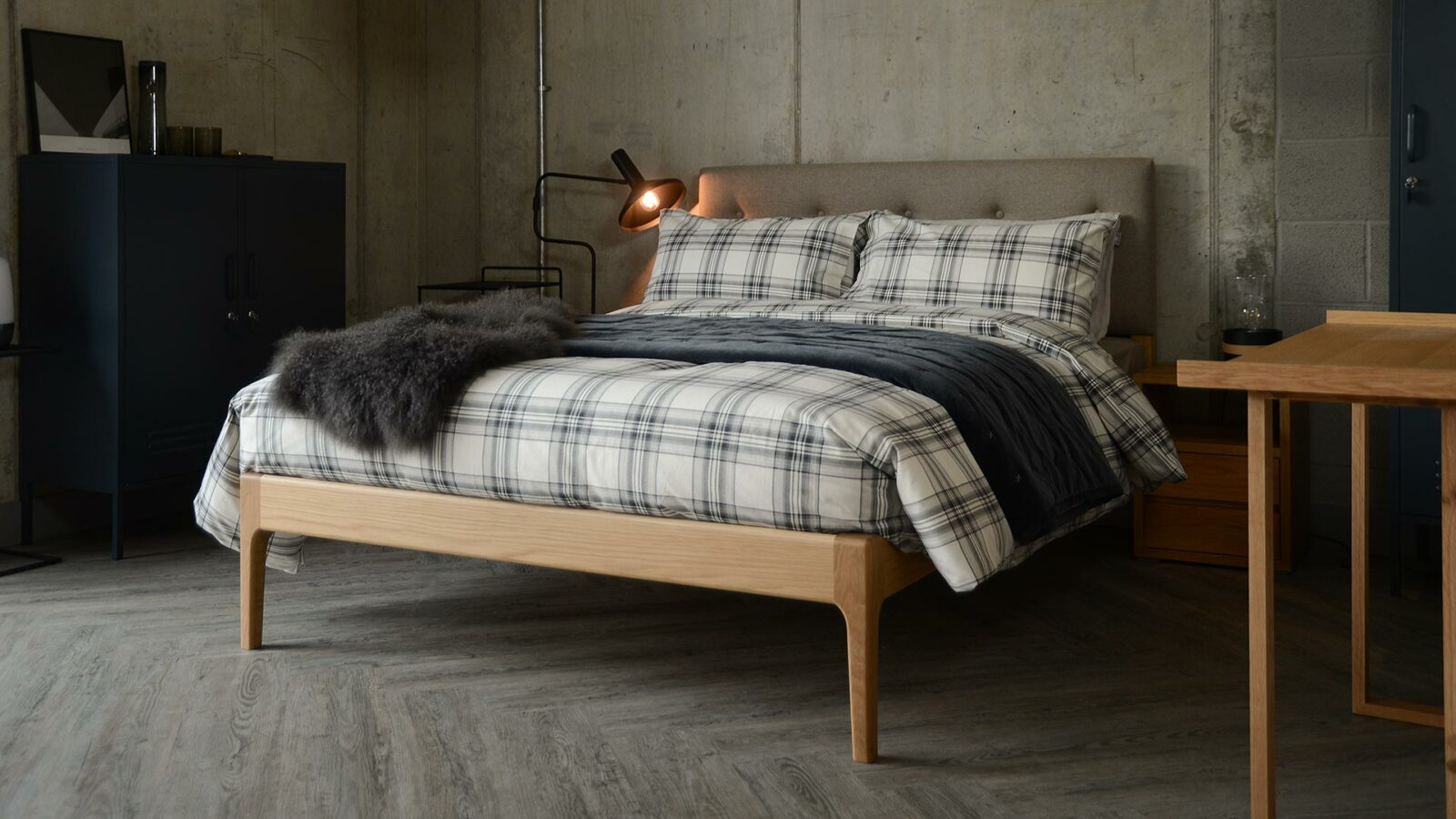 Scandinavian style bedroom with oak Bloomsbury bed and cosy bedding