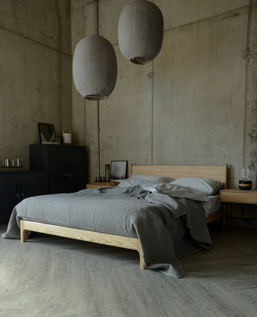 hexagon bedspread in grey on the Carnaby bed