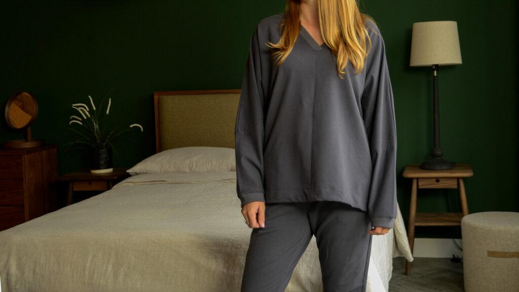 dark grey fleecy loungewear shown on our model