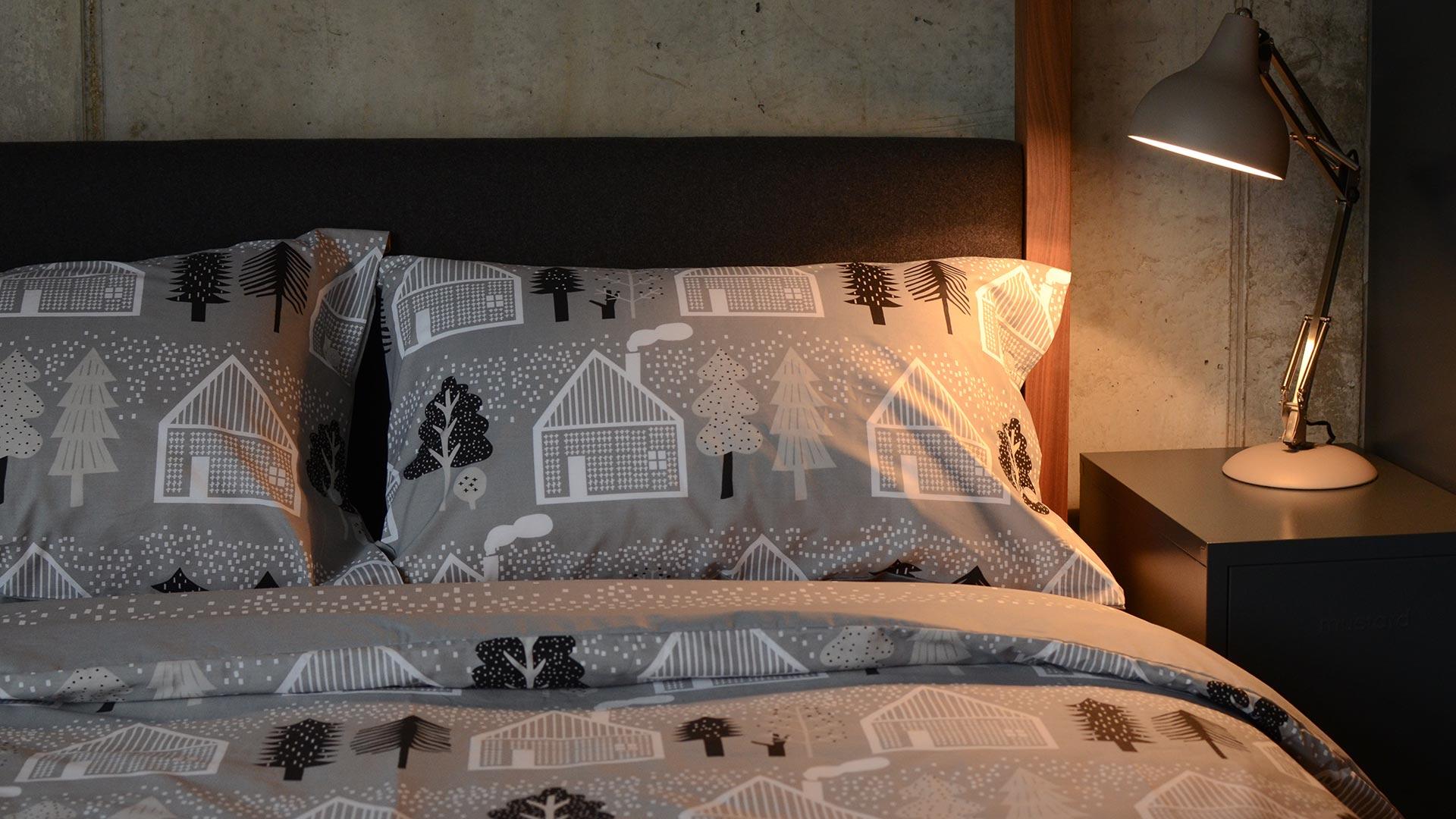 Donna Wilson Grey Duvet Set Log Cabin Print Natural Bed Company