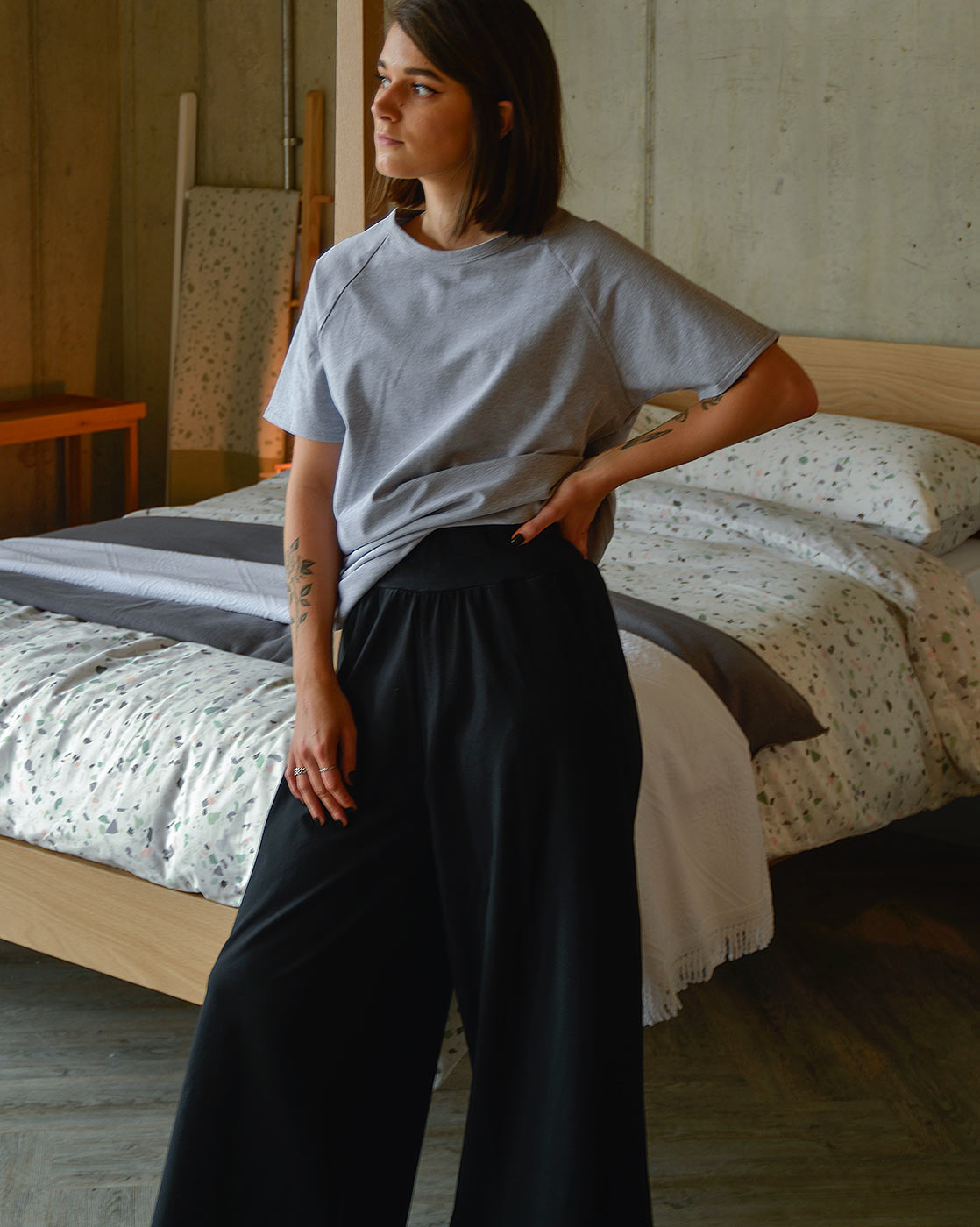 grey-marl-t-shirt-and-black-wide-leg-pants