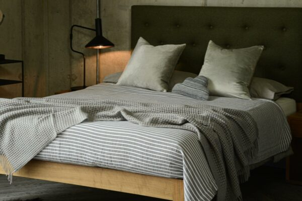 charcoal striped bedspread