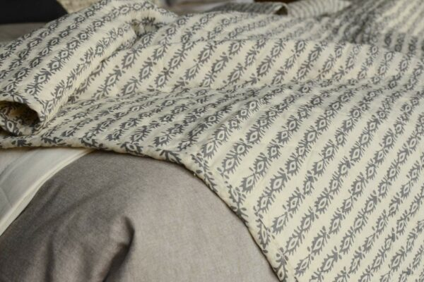 Grey Printed Cotton Throw